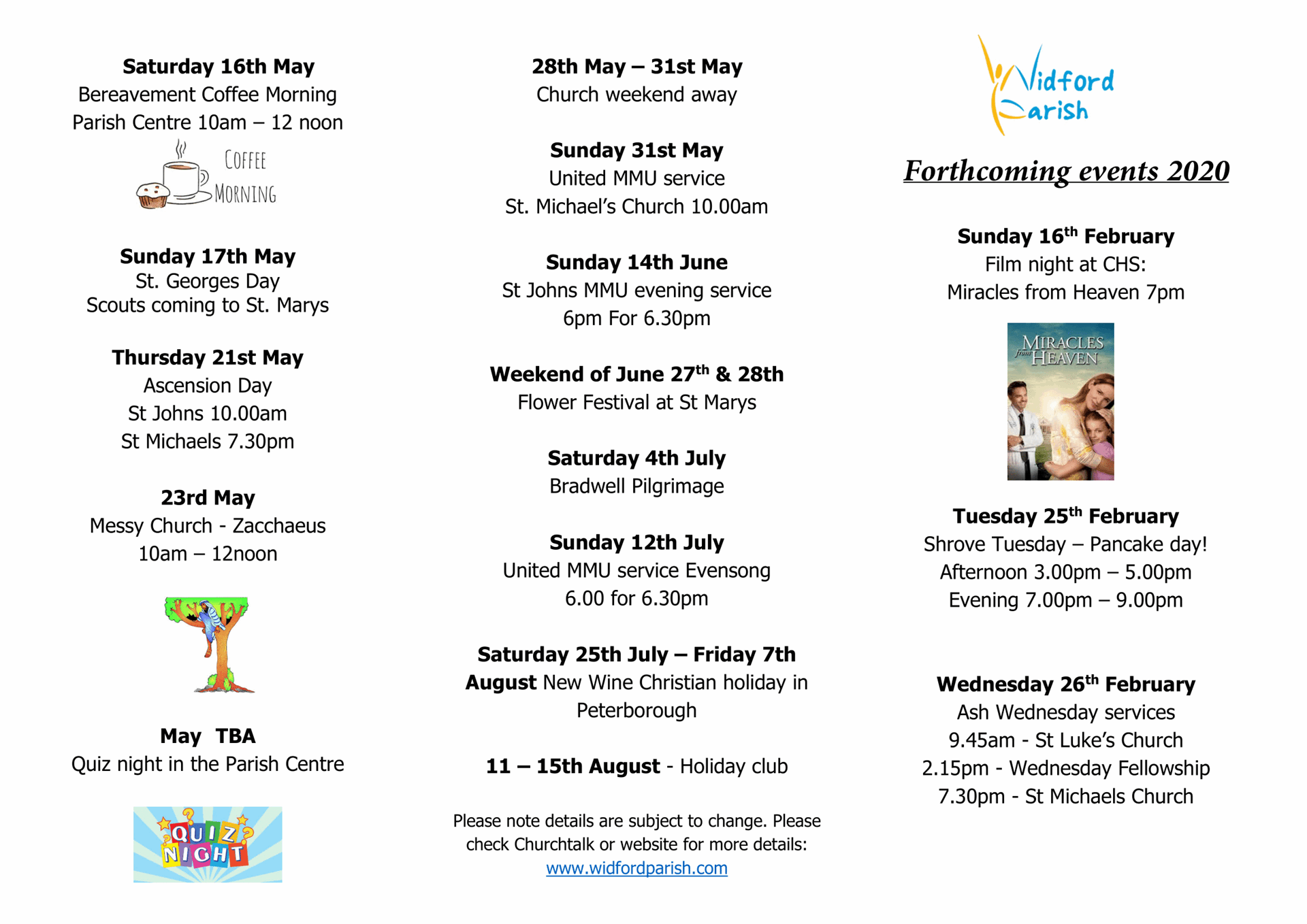 Forthcoming events 2020.3 11